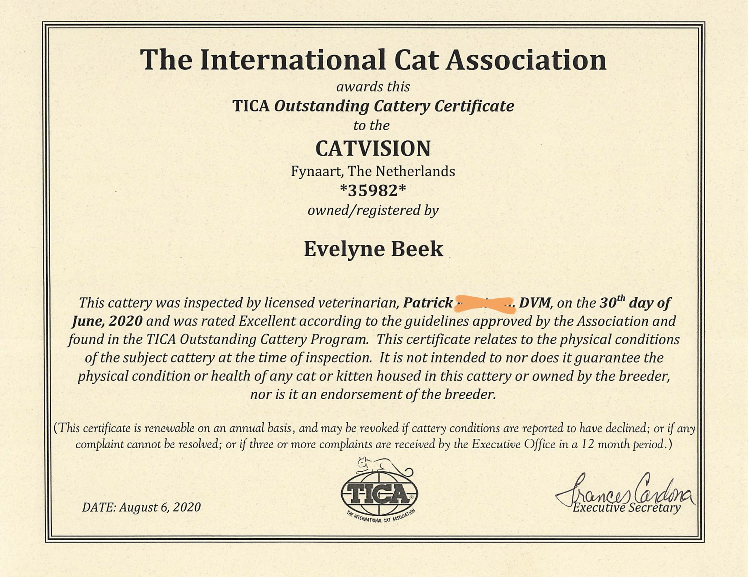 Outstanding Cattery Certificate CatVision